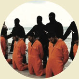 Men in orange jumpsuits lined up